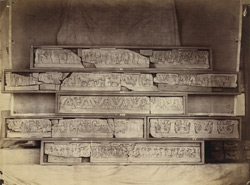 Sculpture fragments of friezes from steps leading to the dome of the stupa, Jamal-Garhi. 10031012